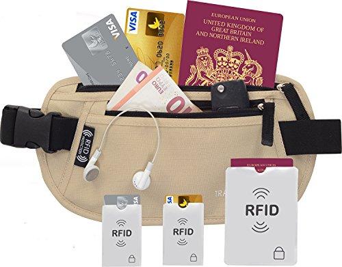 TravelBug: Cintura Portasoldi/Portafogli/Borsellino Nascosto RFID Con Protezione RFID Integrata e Protezione Contro i Furti Di Identità. Con 3 Guaine RFID GRATIS IN OMAGGIO.