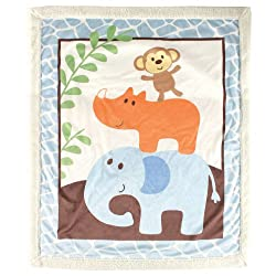 Luvable Friends Sherpa Blanket, Blue Safari