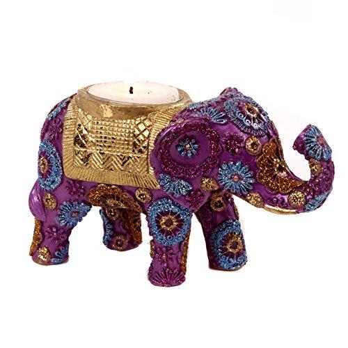 Good-will Buena voluntad: Resina y Tela Floral India Morado y Oro Elefante té Vela portavelas
