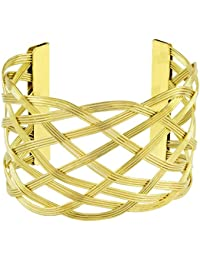 Wire Mesh Party Statement Imported 18K Gold Free Size Cuff Kada Bangle Bracelet For Girls Women