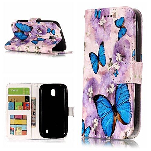 Cozy Hut Nokia 1 Hülle,Nokia 1 Leder Wallet Tasche Brieftasche Schutzhülle, 3D Schmetterling Muster PU Lederhülle Flip Hülle im Bookstyle Cover Schale Stand Ständer Etui Karten Slot Schutzhülle SC