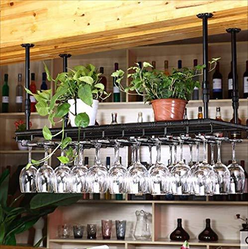 Weinregale Bar-Bar-Bar Bar Theke Weinregal Restaurant Haushalt Weingläser Umgekehrtes Regal Retro Eisenkunst Weinregale (Farbe: B, Größe: 80 * 35cm) (Farbe : B, Größe : 60 * 35cm) (Theke Restaurant)