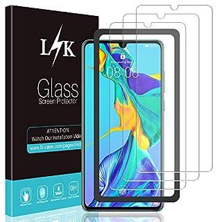 L K 3 Stücke Schutzfolie für Huawei P30, [Bubble Free] [9H Härte] [Einfache Installation] [[Einfache Installation]] Huawei P30 Panzerglas HD Klar Gehärtetem Glas Displayschutzfolie