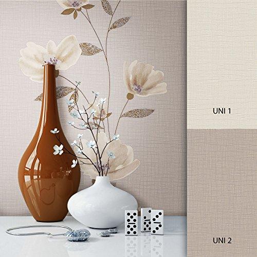 NEWROOM Blumentapete Tapete Braun Blätter Zweige Floral Vliestapete Beige Vlies moderne Design...