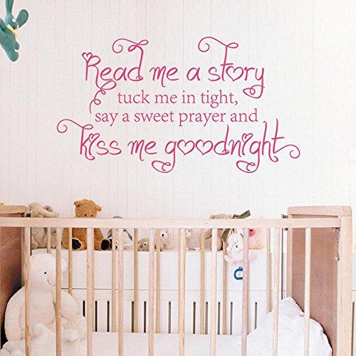 Read me a story Tuck me in Tight dire una dolce preghiera e Kiss Me Goodnight decalcomania da parete con farfalle, Stanza dei bambini Ragazze Decalcomania da parete, Quotes, Vinile, Brown, 22