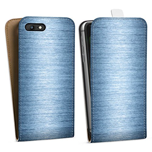 Apple iPhone X Silikon Hülle Case Schutzhülle Metall Look Metal Look - Indigo Downflip Tasche weiß