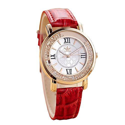 Uhren Dellin Qualität Japanisches QuarzWomen's Herren Kristall Strass Edelstahl Analog Quarz Armbanduhr (Rot)