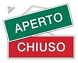 Cartello APERTO e CHIUSO per negozio vetrina studio laboratorio officina bottega (Verde/Rosso)
