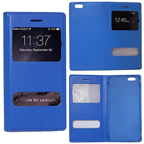 VComp-Shop® PU-Leder Schutzhülle mit Sichtfenster für Apple iPhone 6 Plus/ 6s Plus + Mini Eingabestift - WEISS HELLBLAU