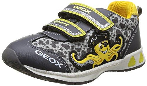 Geox B Teppei B C, Baskets mode bébé garçon Gris (Dk Grey/Yellow)
