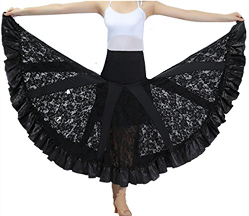 Flamenco Rock Frau Standard Ballsaal Tanzen Lange Swing Kleid Modern Walzer Tango Spitze die Röcke (Ballroom Tanz Kostüme Swing)