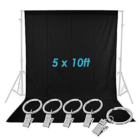 Neewer® Studio Photo 5x 10cm/1,5x 1,5x 3m mousseline pure Toile de fond pliable avec 5pinces Ressort pour photo, vidéo et télévision (Noir)