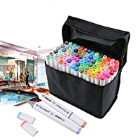 TOUCHNEW 80 Colors Art Marker Set Dual Headed Artist Sketch Permanent Markers Pen For Coloring Drawing Painting