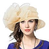 Señora Oaks Derby Iglesia Vestido Sombrero Bucket Boda Bowler Sombreros (Albaricoque)
