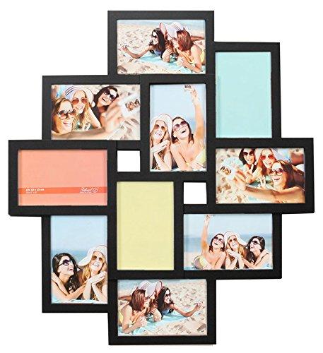 Ideal Gallery Bilderrahmen in Weiß Schwarz Braun für 10 Fotos 10x15 Foto Collage: Farbe: Schwarz (Weiß Schwarz 10 Und)