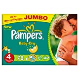 Pampers Baby Dry Größe 4 maxi 7 - 18 kg Jumbo + Pack 78 Windeln