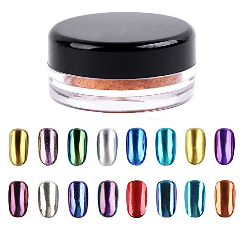 LHWY BRICOLAGE Pigment Set 16 couleurs Nail Glitter poudre maquillage Art Shinning ongles miroir poudre