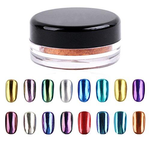 LHWY Shinning ongles miroir poudre 16 couleurs Nail Glitter poudre maquillage Art Pigment BRICOLAGE ensemble