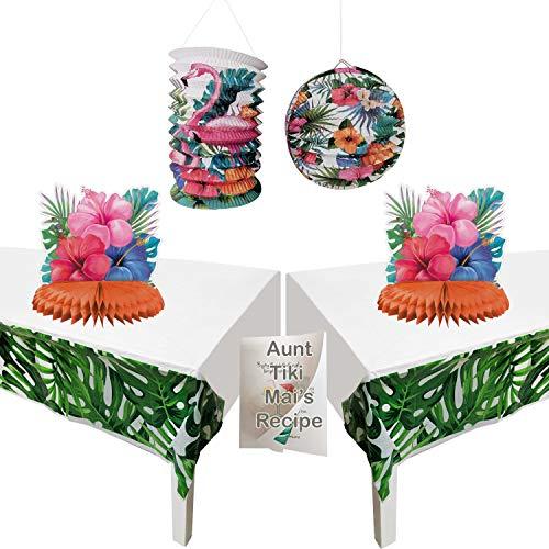 Wild Party-Dekorationen, 7-teiliges Set inkl. 2 tropischen Palmenblättern, Kunststoff-Tischdecken, 2 Tafelaufsätze, 2 Hängedekorationen, und 1 Exklusives Rezept ()