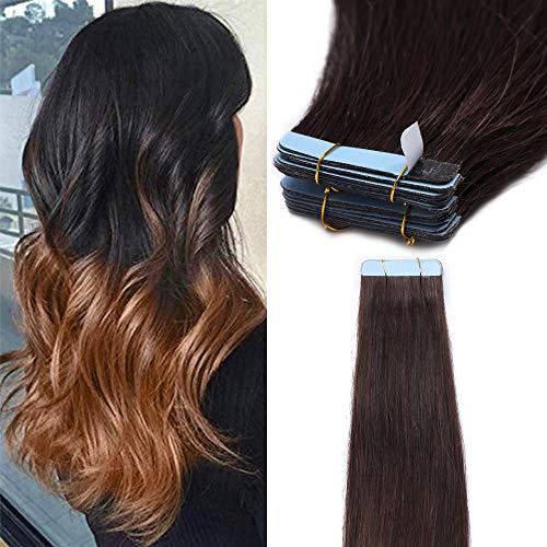 Extension capelli veri biadesivo shatush 40 fasce 100g adesive capelli lisci tape hair extensions biadesive remy human hair (45cm #2t6 marrone ombre castano)