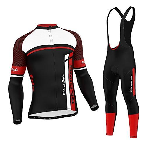 FDX Enganliegende Fahrradbekleidung Für Herren, Set aus Thermo-Oberteil Mit Leggins Im Latzhosen-Stil, FDX-1220-70, rot, Large