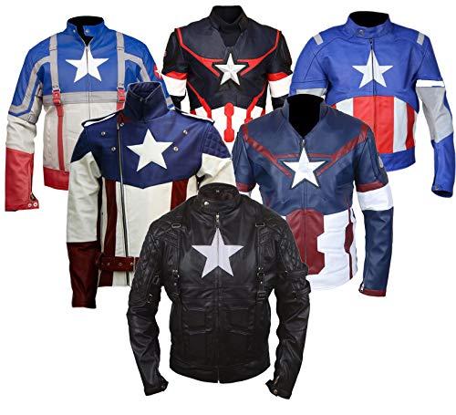 Avenger America Kostüm Erste Captain - Dunhill Leather Die Ersten Rächer Filmstars Cosplay Kostüm Echtes Leder Schwarz Jacke-5xl