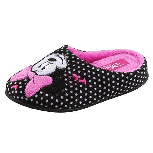Tierhausschuhe Hausschuhe Disney Minnie Maus Pantoffel Minny Maus weich Schlappen hochwertig Original Damen Mädchen, TH-Minnie Slipper Herz schwarz