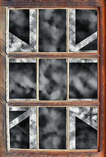 Stil.Zeit Monocrome, Great Britain Flag, Großbritannien Flagge Fenster im 3D-Look, Wand- oder Türaufkleber Format: 62x42cm, Wandsticker, Wandtattoo, Wanddekoration Großbritannien-flags
