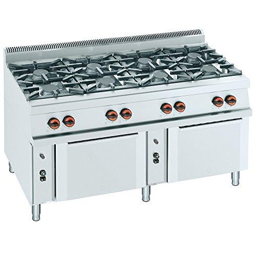 Macfrin R8H Cocina a Gas de 8 Fuegos y 2 Hornos 62...