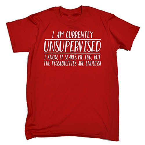 123t Men's I Am Unsupervised The possibilities Are Endless T-Shirt Funny Christmas Casual Birthday Tee