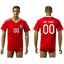 2016UEFA Euro Cup Wales DIY Name Home Football Jersey in Rot