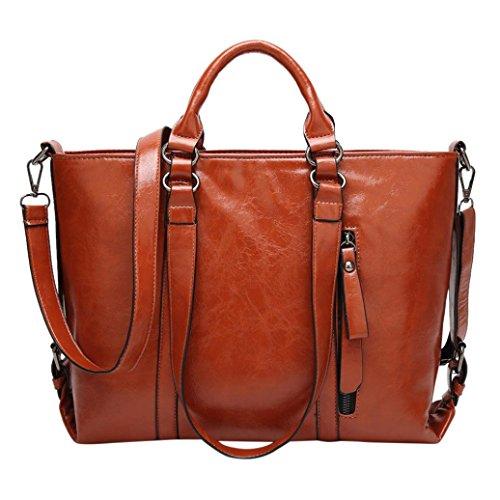 Fashion Frauen PU-Leder Handtasche Schultertasche Umhängetasche Tasche Messenger Taschen, Geschenk braun 33cm(L)*13cm(W)*26cm(H) (Geldbörsen Wallets Stoff Handtaschen Tragetaschen)