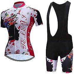 Maillot Ciclismo Mujer, Ciclismo Conjunto de Ropa con Culotte Pantalones Acolchado 3D para Deportes al Aire Libre Ciclo Bicicleta B-M