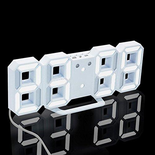 HARRYSTORE 1PC Modern Digital LED Tisch Schreibtisch Nacht Wanduhr Alarmuhr 24 oder 12 Stunden Display Uhr Mit 3 Helligkeitsstufen (Weiß_Weiß)