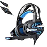 Mengen88 Esports Game Vibration Headset mit 7.1 Surround Sound Stereo 3D Audio LED Blendung über Ohr Kopfhörer Noise Cancelling Mikrofon, für PC Laptop