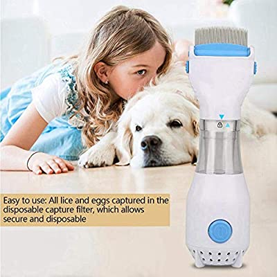 Womdee Pet Lice Combs, Allergy and Chemical Free Electric Flea Treatment Head Lice and Eggs Removal with 3 Capture Filter for Cats Dogs Rabbits from Womdee