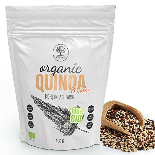 VITNA Organic Quinoa 3 Color, Bio-Quinoa 3-farbig (Weiß, Rot und Schwarz) Quinoasamen 400 g, 100 % Vegan, 100 % Bio-Superfood, reich an Antioxidantien, glutenfrei