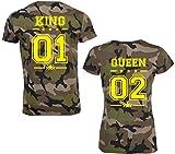SE-creation King Queen Partner Look Camouflage T-Shirt mit Wunschzahl   ALS Paar für Damen und Herren   Jungen und Mädchen   Army Tarn-Muster Design   für Pärchen ALS Hochzeit - Geburtstag -Geschenk