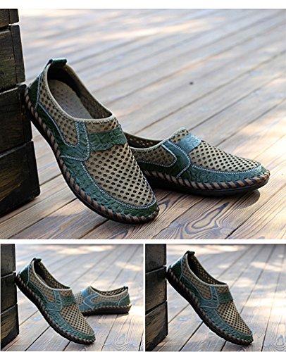 YiLianDa Herren Sommer Atmungsaktiv Mesh Hausschuhe Outdoor Slippers Grün
