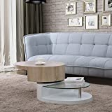 UEnjoy Modern Design Coffee Table with Glass Swivel Living Room Furniture (White & Natural Oval)