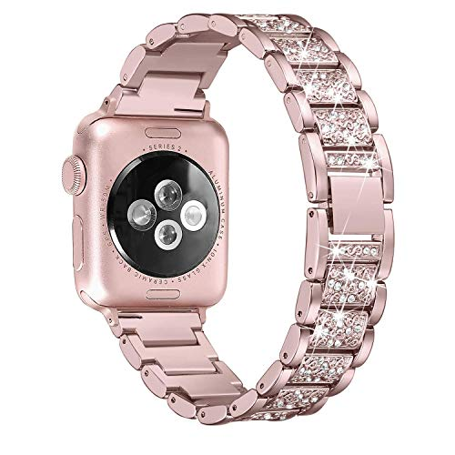 Ginamart Armband kompatibel mit Apple Watch Iwatch Band Serie 4 40 mm 44 mm Serie 3/2/1 38 mm 42 mm Damen Metall Edelstahl Schmuck Armband Armreif, Unisex, Rose Gold Bling, 38mm/40mm