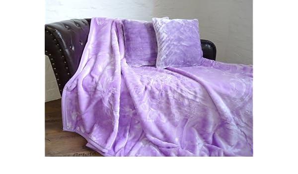 3tlg 2 Kissen 40x40cm Set Tagesdecke Kuscheldecke Glanz-Design flieder lila