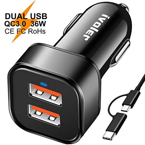 iVoler Due Quick Charge 3.0 36W 2 Porte Caricatore USB da Auto [2X QC 3.0 Porte] con Cavo(1m) + Cavo 2 in 1 Type C e Micro USB Cavo Ricarica (1m) e Gli Altri dispositivi USB (Nero)