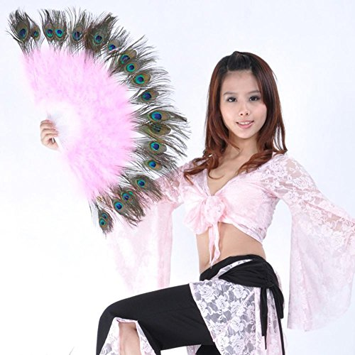 u Feder Marabou Fan Große Hand Kostüm Halloween Party Plastik Staves Soft Fluffy Lady Burlesque Fantasie Falten Professionelle Leistung, Pink, Right ()