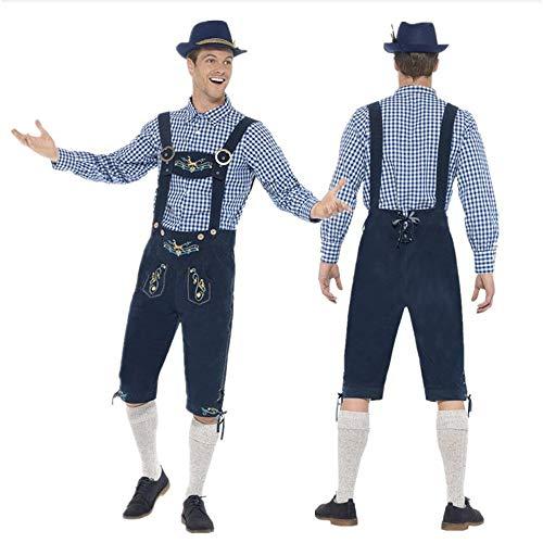 Cwemimifa Midi Dirndl aus Exklusiver Kollektion inkl. Spitzenschürze, Herren Oktoberfest Kostüm Bayerische Bierstube Tops + Herren Pant Set + Hut, Marine, M (Designer Fancy Dress Kostüme)