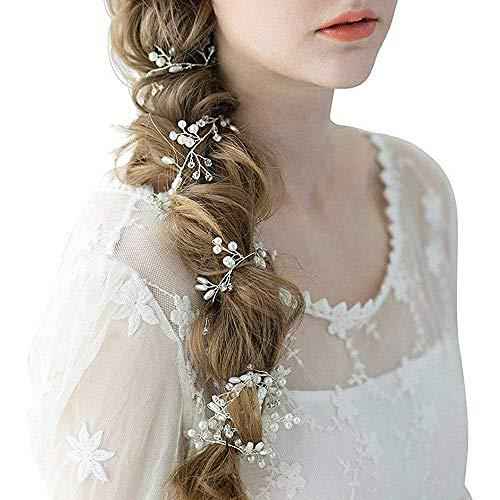 Skitic Strassbesatz Haarband und Stirnband mit Kristall, Fashion Schön Style Kopfschmuck Haarbänder Lange Glänzende Haarranke für Frauen und Mädchen (Silber) - 3