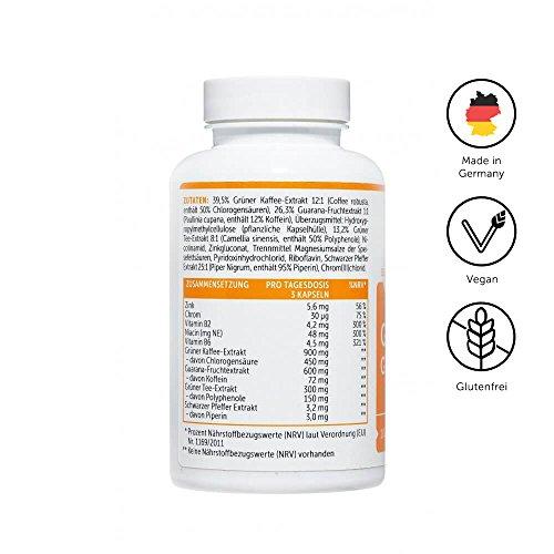 Vitafy Essentials Guarana Grüner Tee, 100 Kapseln – F-Burn – Koffein – Made in Germany – Stoffwechsel – Hoch Dosiert