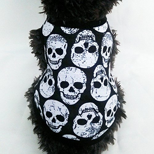 Franchen Haustier Weste Teufel Kopf Schädel Hund Weste Kleidung T-Shirt Welpen Kostüme Hundeweste (XL, Weißer Schädel)