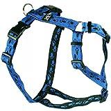 Feltmann Hundegeschirr - Soft-Nylonband blau mit schwarzen Pfötchen, Bauchumfang 40-60 cm, 15 mm Bandbreite