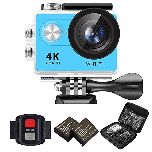 IXROAD Action Kamera 4K Ultra HD 12MP (Action Cam 2 Zoll Display WiFi) 170° Weitwinkel Helmkamera Unterwasserkamera Sportkamera mit Fernbedienung, 2 Akkus, Wasserdichtes Gehäuse, Zubehör Set (Blau)